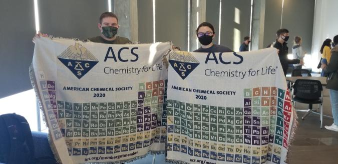 CLC students showing off their ACS (American Chemical Society) blankets