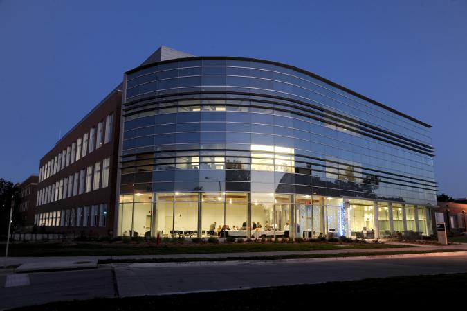 Hach Hall at night